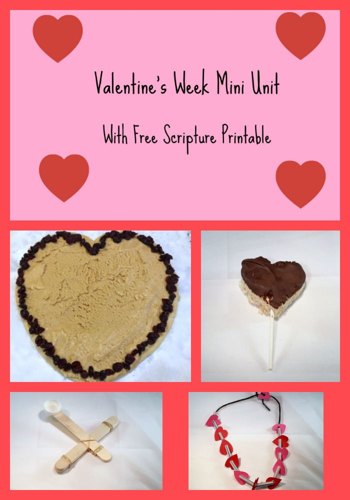 Valentine's Week mini-unit for preschool and elementary school kids, with free scripture printable!