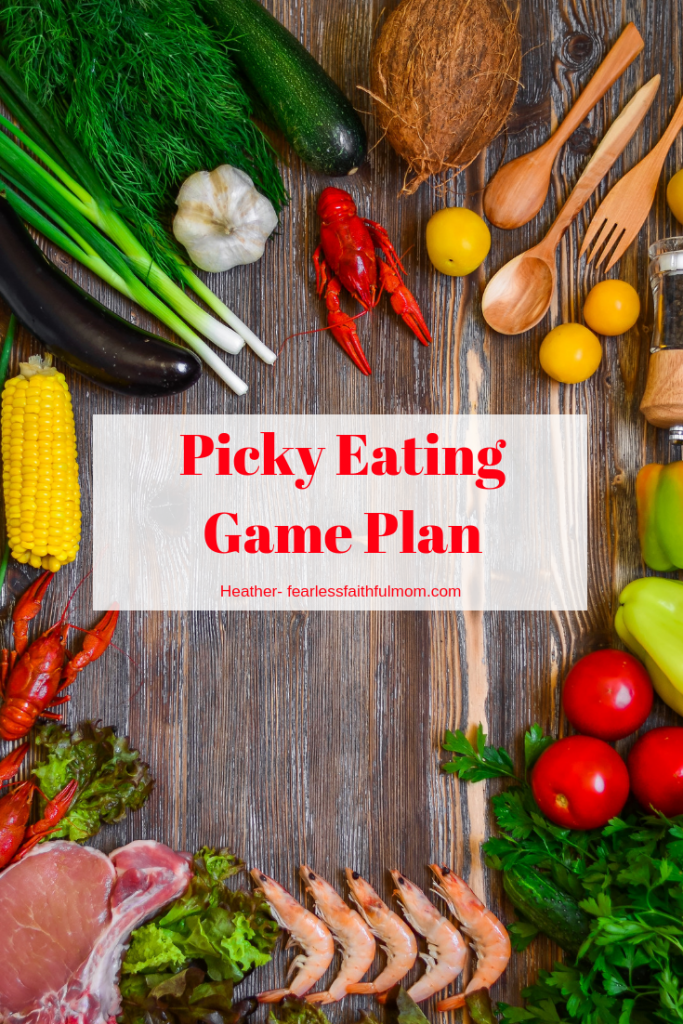 If picky eating is making dinner a disaster, use the Picky Eating Game Plan to help bring peace to your table! #pickyeating #parenting #healthyeating