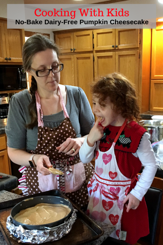 Learn how to make cooking with kids easier so they can learn without you losing your mind! Plus a recipe for no-bake dairy-free pumpkin cheesecake.