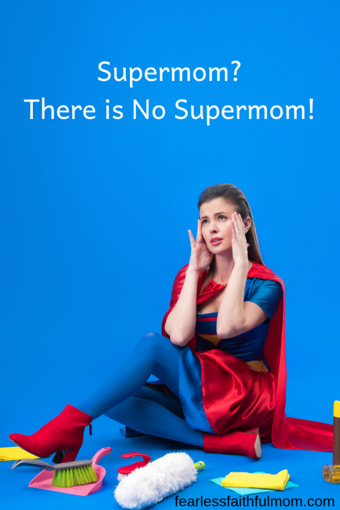 There is no mom who is a supermom. Let go of that lie that is dragging you down and embrace your perfectly imperfect life! #motherhood #mom #supermom