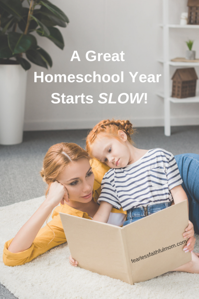 Find out how to start your homeschool year off right by starting small and slowly building. You can avoid overwhelm, stress, and burnout with a slow start! #homeschoolyear #homeschooling #relaxedhomeschooling