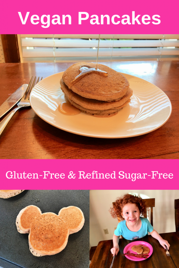 Make vegan pancakes for your family that are gluten-free and refined sugar-free using this delicious recipe! Make some today and freeze some for later! #vegan #glutenfree #refinedsugarfree